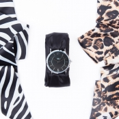 Montre Trend avec Bracelet foulard satin Animals