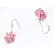 Boucles d'oreille papier Origami Lotus Rose