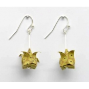 Boucles d'oreille papier Origami Lotus Moutard