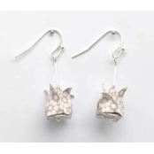 Boucles d'oreille papier Origami Lotus Rose gris cl.