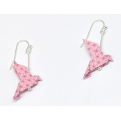 Boucles d'oreille papier Origami Colombe Rose