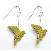 Boucles d'oreille papier Origami Colombe Moutard