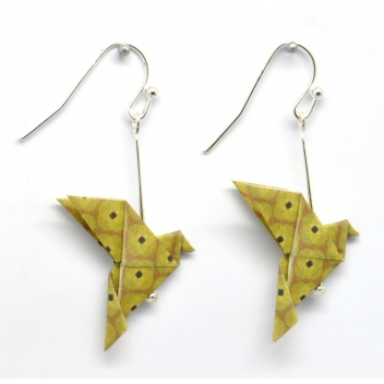 - 3700982216174 - The cocotte - Boucles d'oreille papier Origami Colombe Moutard - France - 3