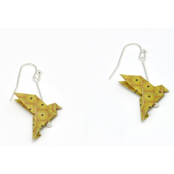 - 3700982216174 - The cocotte - Boucles d'oreille papier Origami Colombe Moutard - France