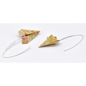 Boucles d'oreille papier Origami Avion Moutarde