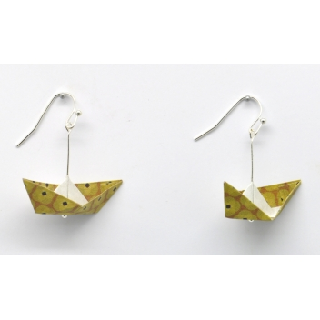 - 3700982216297 - The cocotte - Boucles d'oreille papier Origami Bateau Moutard - France - 2