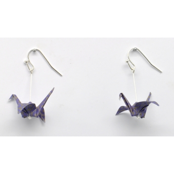 - 3700982216327 - The cocotte - Boucles d'oreille papier Origami Grue Violet - France - 3