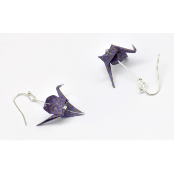 - 3700982216327 - The cocotte - Boucles d'oreille papier Origami Grue Violet - France