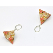 Boucles d'oreille papier Origami Triangle Moutarde