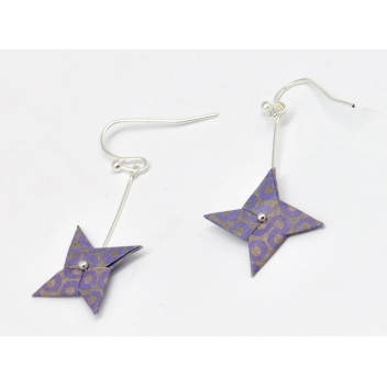 - 3700982216563 - The cocotte - Boucles d'oreille papier Origami Tourniquet Violet - France - 3