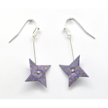 - 3700982216563 - The cocotte - Boucles d'oreille papier Origami Tourniquet Violet - France