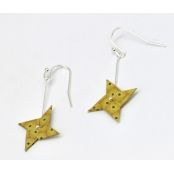 Boucles d'oreille papier Origami Tourniquet Moutard