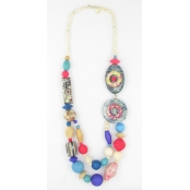 Collier long perles multicolores