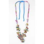Collier long grappe multicolore