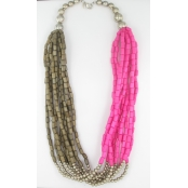 Collier long bronze et fuchsia