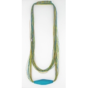 Collier filaire vert et turquoise
