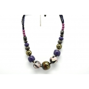 Collier grosses perles Tons violets