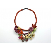 Collier textile multicolore