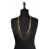 Collier long 8 rangs Doré et noir