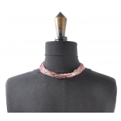 Collier 10 rangs Argenté et rose