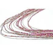 Collier 15 rangs Argenté et rose