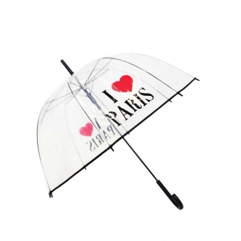 BUL1552 - 3700982211193 - Smati - Parapluie cloche transparent I love Paris - 2