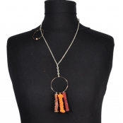 Collier long Mimi orange