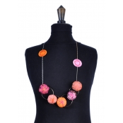Collier long Holly Coussin tons orange et rose