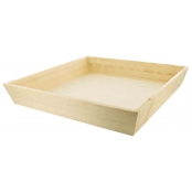 Plateau en bois carré bords inclinés sans anse 30x30x5,5 cm