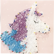 Tableau de fil tendu String Art Licorne 21 x 21 cm