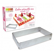 Cadre à pâtisserie extensible rectangle 18/34 à 27/52cm