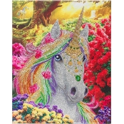 Tableau Strass Diamant Crystal Art Licorne 40x50cm