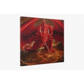 Tableau Strass Diamant Crystal Art XXL Dragon Rouge 70cm