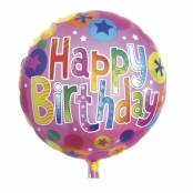 Ballon en aluminium Happy Birthday ø46cm
