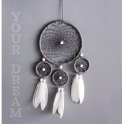Kit DreamCatcher Attrape-rêves 17x33cm blanc/gris
