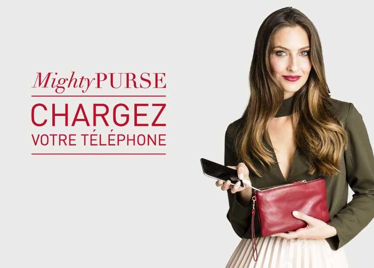 avec les sacs et pochettes mightypurse, rechargez votre téléphone portable...